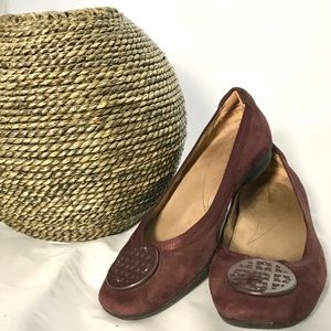 Clarks Burgundy Artisan Suede Leather Flats